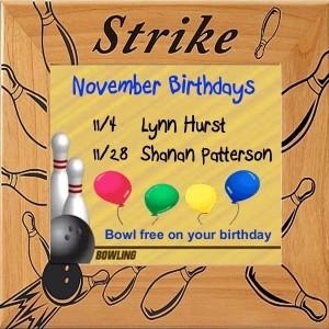 Bowling birthdays November